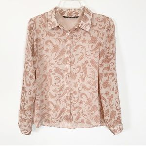 Zara Basic Floral Long Sleeve Top Size Medium